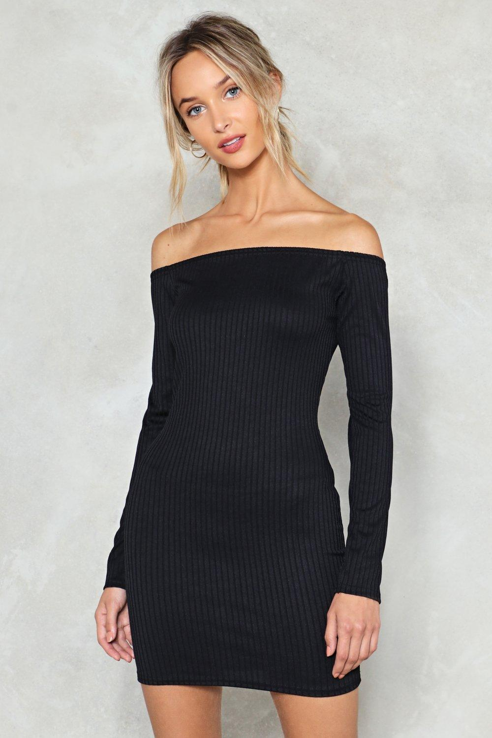 on and off ribbed off-the-shoulder dress | shop clothes at nasty gal!