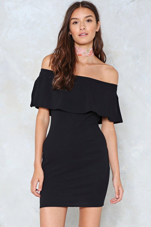 Over the shoulder dresses black