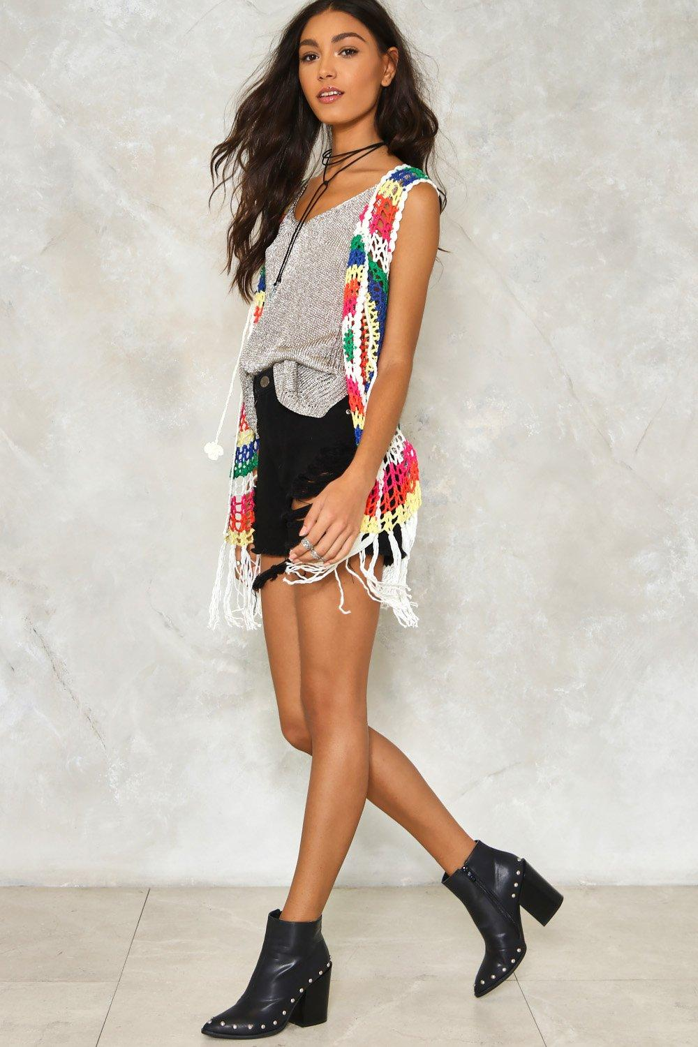 Blinded By Rainbows Crochet Vest