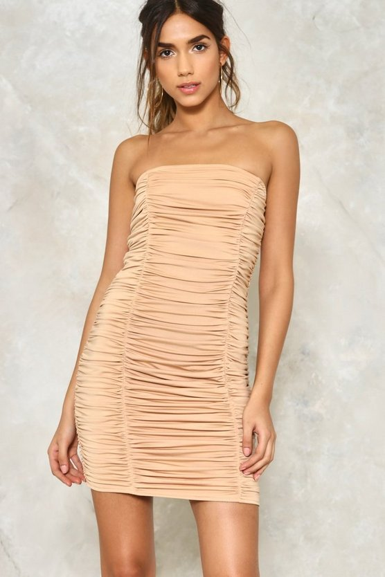 A Step in the Tight Direction Ruched Dress