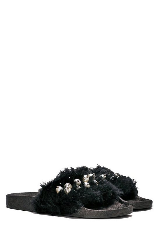 Pearl After My Own Heart Faux Fur Slide Sandal