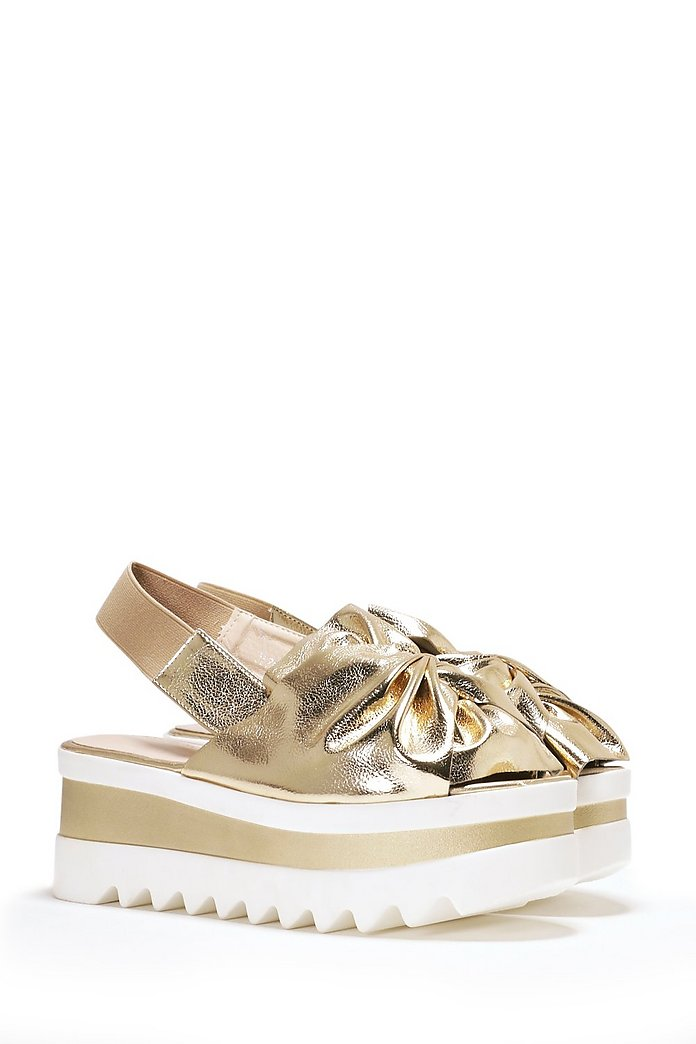 Bow Hard or Bow Home Slingback Platform
