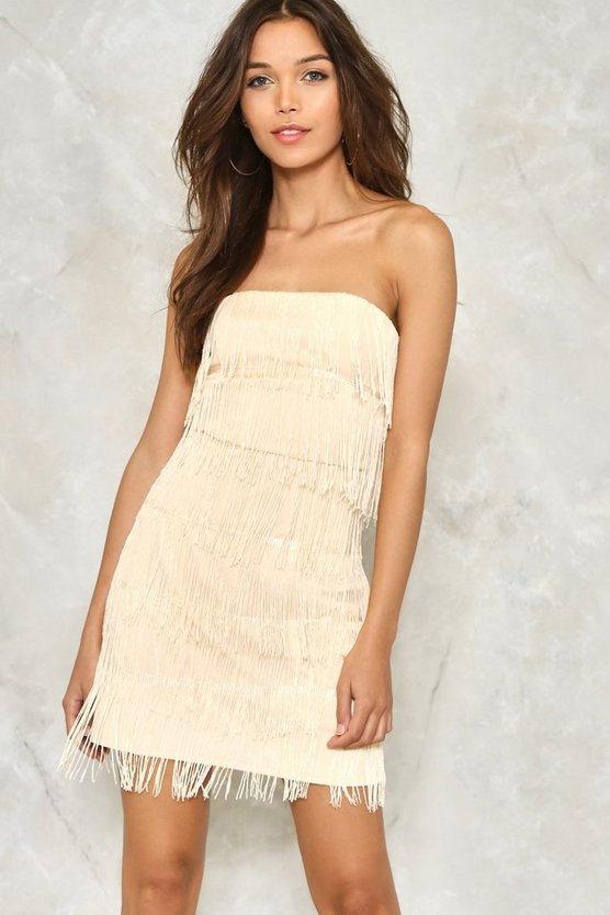 Bandeau Fringed Mini Dress