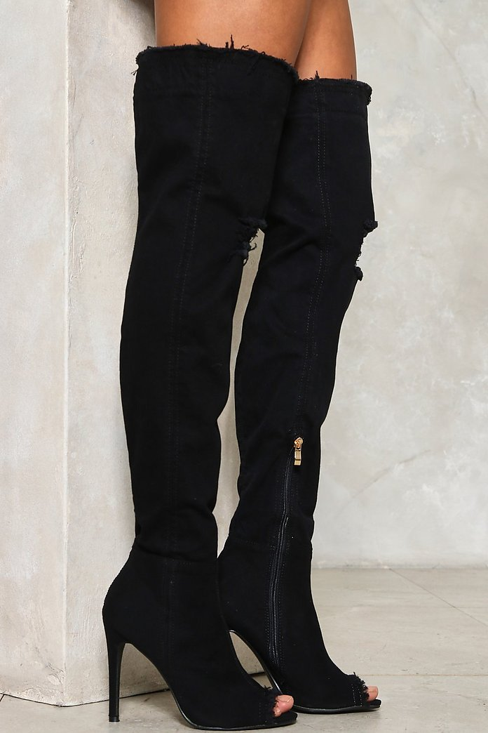 Rise Above It Thigh-High Denim Boot