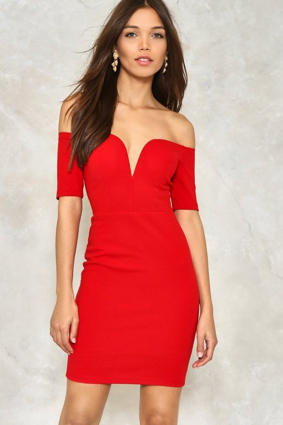 One Way or Another Off-the-Shoulder Dress