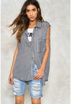 Gingham Sleeveless Oversized Blouse