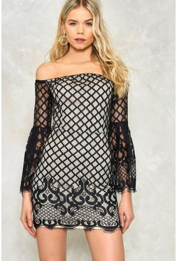 Off The Shoulder Lace Sleeve Mini Dress
