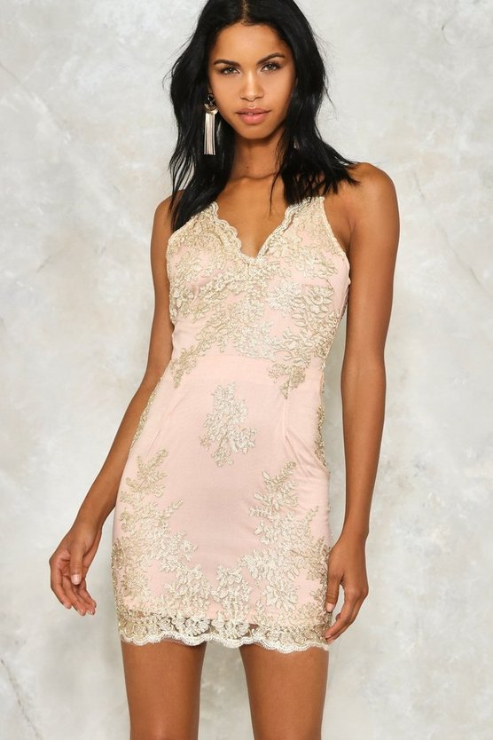 Hot to Trot Metallic Lace Dress