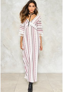 Tassel Trim Sleeve Stripe Maxi Dress
