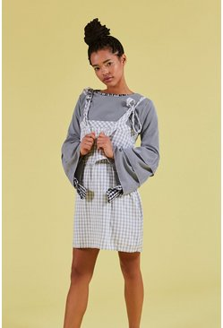 Tie Shoulder Double Layer Gingham Dress