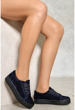 Velvet Lace Up Platform Trainer