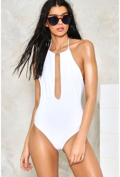 Gold Trim Plunge Front One Piece