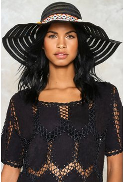 Embroidered Tape Pom Sun Hat