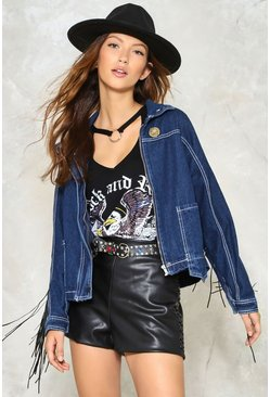 Come Out Swinging Fringe Denim Jacket