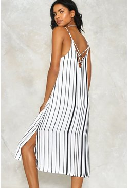 Striped Cross Back Midi Dress