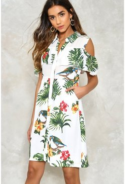 Tropical Print Ruffle Dress