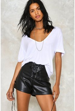 Lace Up Faux Leather Hotpant