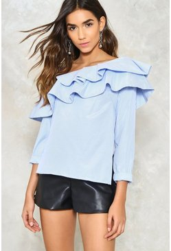 Ruffle Around the Edges One-Shoulder Top