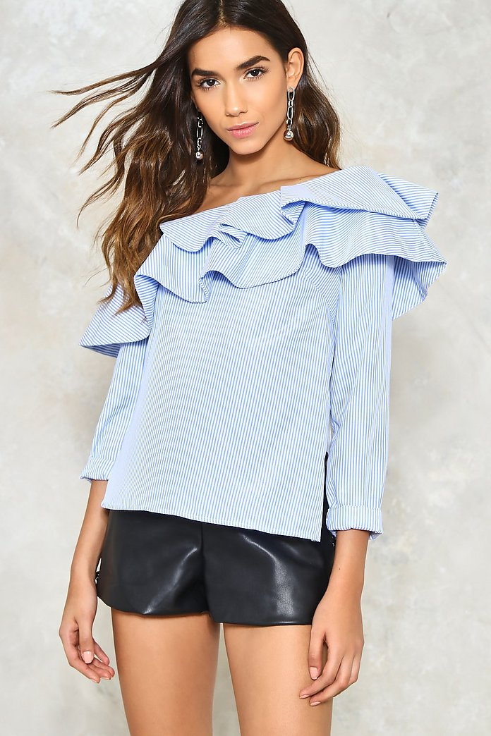 Ruffle Around the Edges One Shoulder Top
