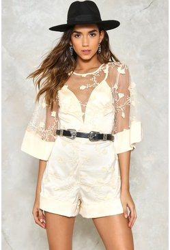 Kimono Sleeve Embroidered Mesh Playsuit