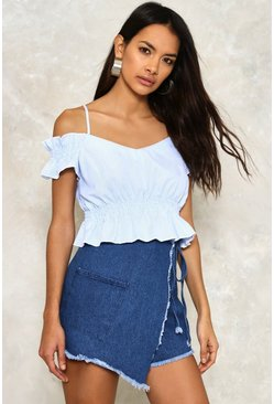 Turn Up the Heat Cold Shoulder Crop Top