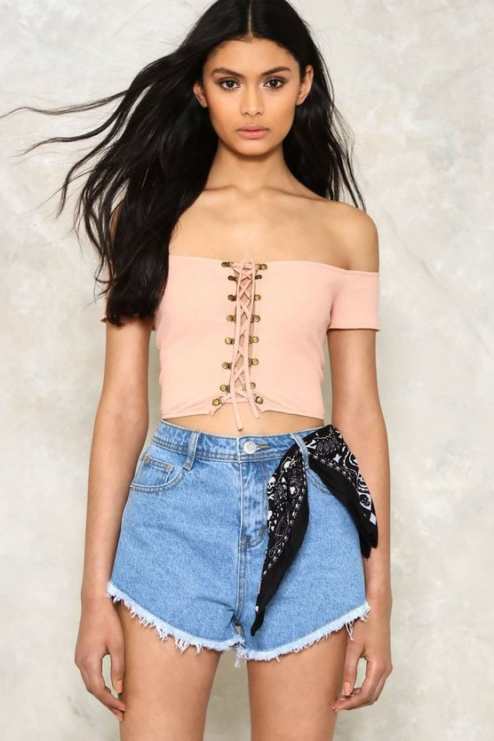 Off The Shoulder Lace Up Crop Top