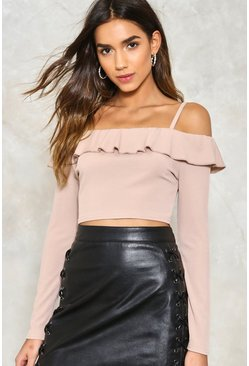 Cold Shoulder Ruffle Ribbed Crop Top