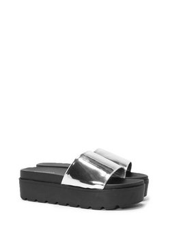 Feel The Steel Platform Slide Sandal