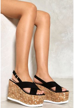 Lazer Cut Metallic Cross Front Wedge