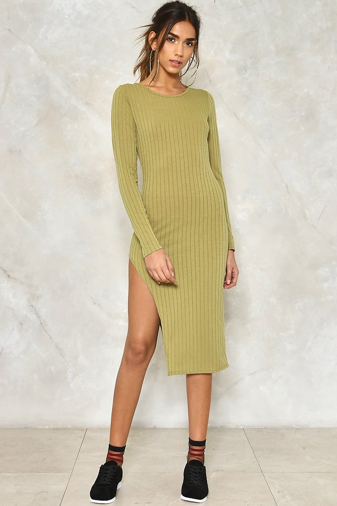 Slit While You're Ahead Ribbed Dress