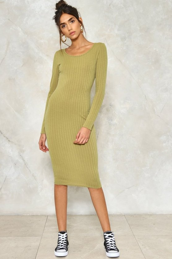 Ahead of the Curve Ribbed Dress