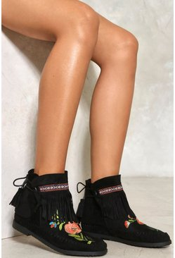 Embroidered Fringe Moccasin Boot