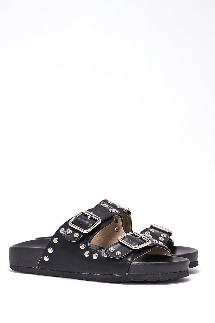 Buckle Up Vegan Leather Slide Sandal
