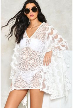 Embroidered Fringed Mesh Beach Poncho