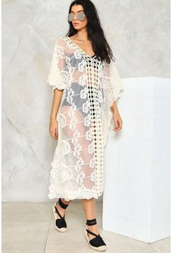 Embroidered Crochet Maxi Beach Kaftan