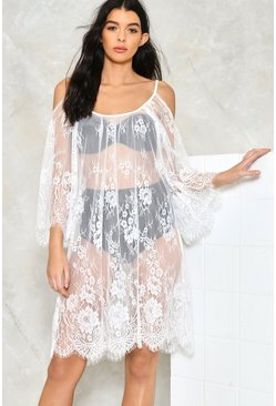 Cold Shoulder Eyelash Lace Beach Tunic