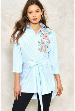 Keira Striped Tie Shirt