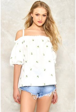 Crazy Daisy Cold Shoulder Top