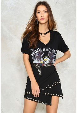 Studded Asymetric Jersey Mini Skirt