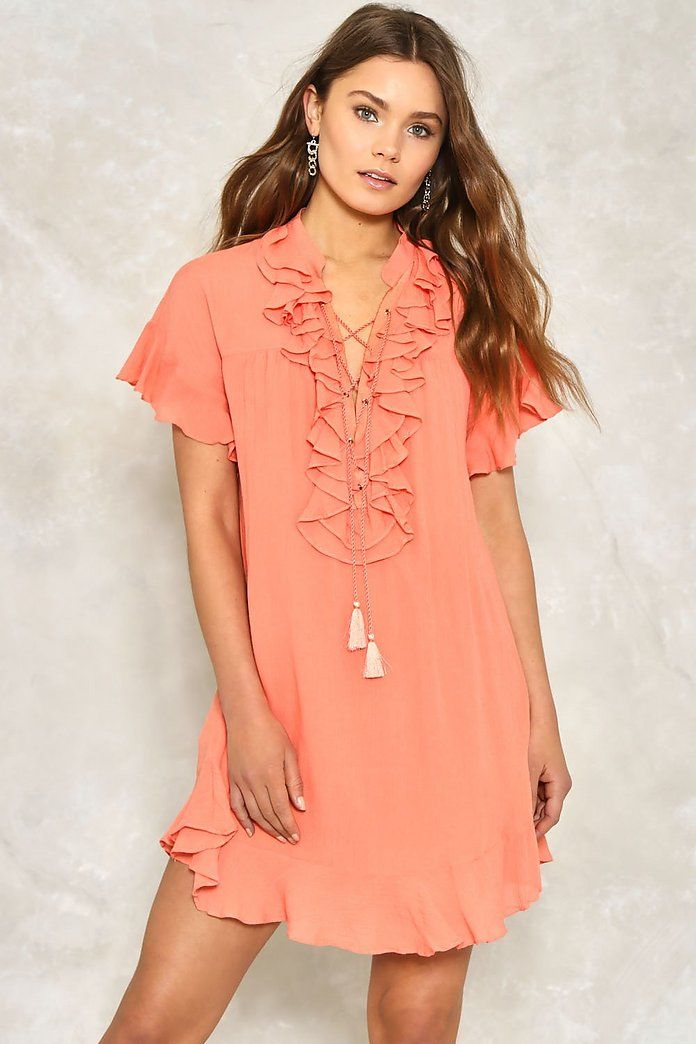 Pull Some Strings Ruffle Dress