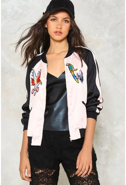 Pretty Bird Satin Bomber Jacket