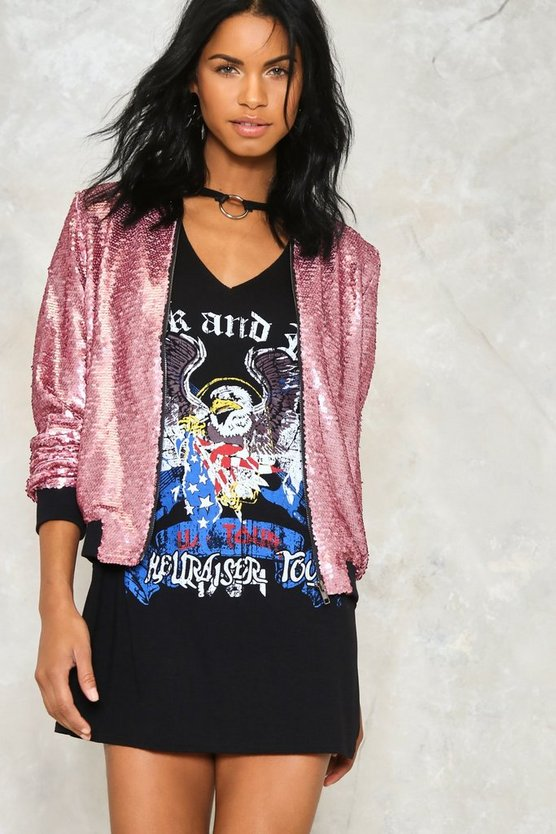 The Show Must Go On Sequin Bomber Jacket