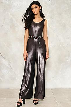 Metallic Split Leg Jumpsuit