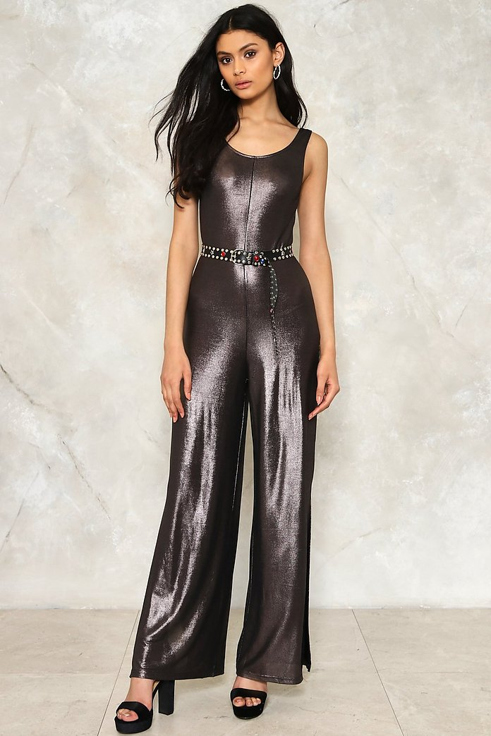 Metal Work Slit Jumpsuit