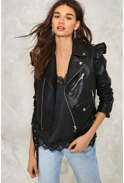 Elena Vegan Leather Moto Jacket