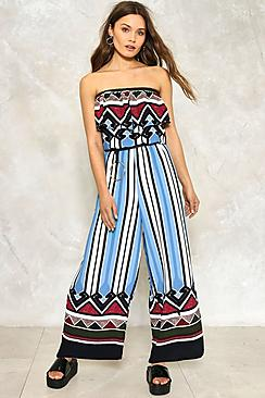 Tribal Print Wide Leg Bardot Jumpsuit