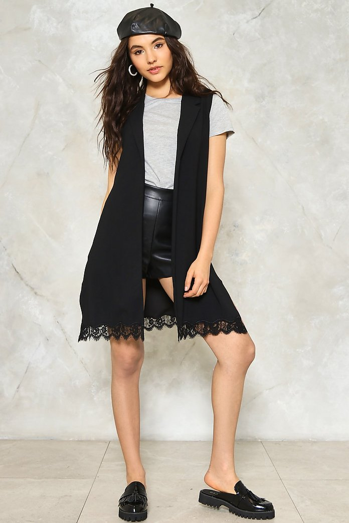 Lace It Better Sleeveless Blazer