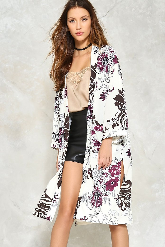 Should I Stay or Should I Grow Floral Kimono