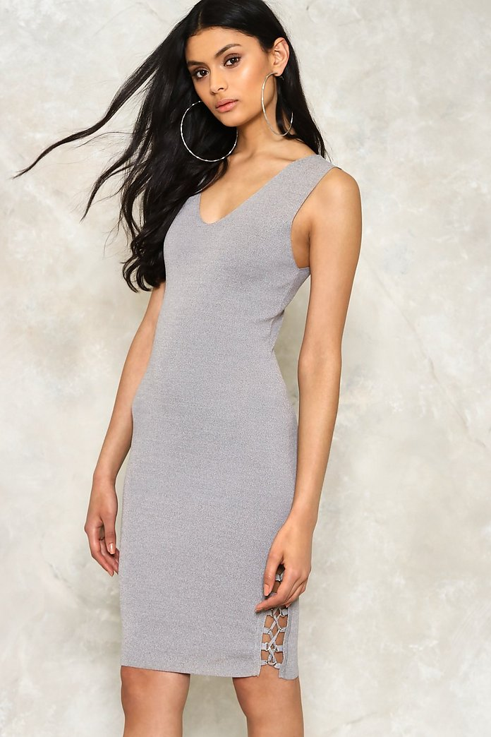 Ring Detail Ribbed Bodycon Dress