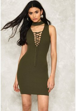 Lace Up Choker Rib Bodycon
